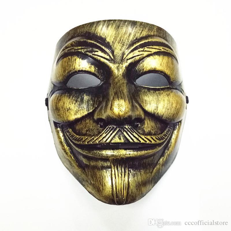 50шт 2020 V маски маскарадные Маски для Vendetta Anonymous Валентина Болл украшения партии анфас Halloween Супер Scary партии