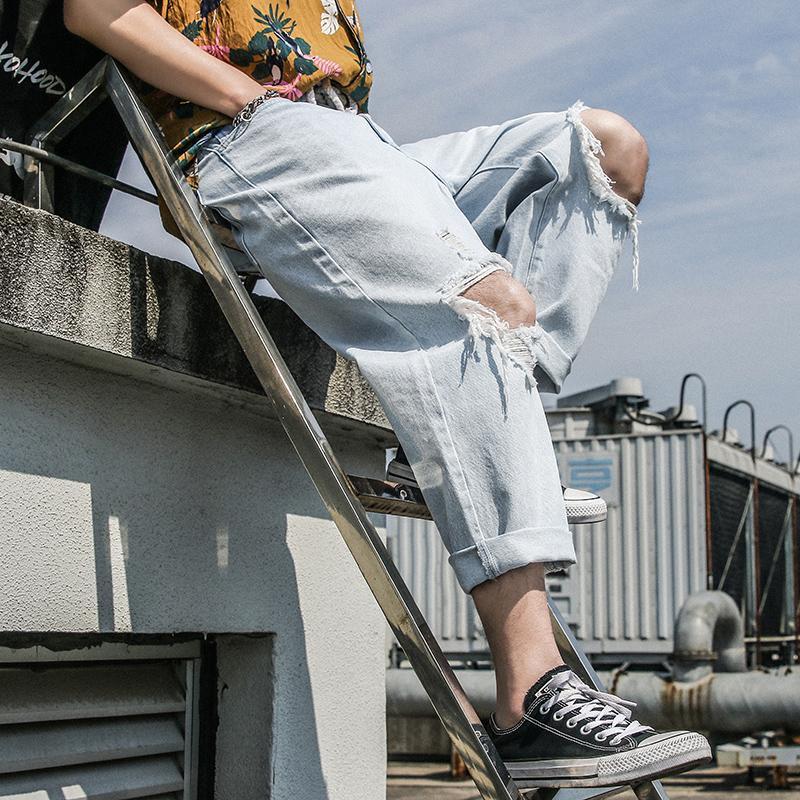 2019 New Fashion Wild Nine Point Jeans Trend Broken Hole Denim Pants Korean Handsome Student Jeans