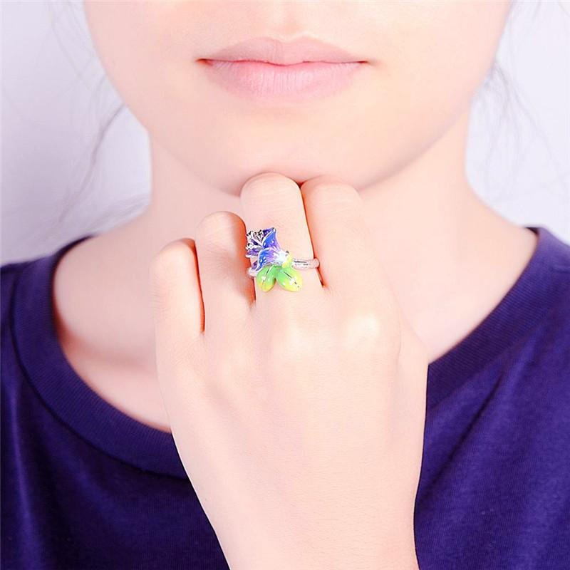 New Purple Enamel Flower Ring Women Vintage Jewelry Rhinestone Rings For Women Crystal Green Leaf Ring Female Wedding Rings Lady