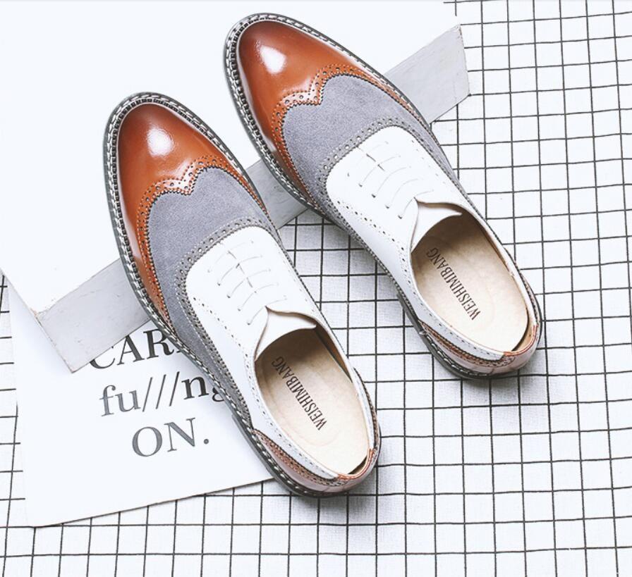 Мужчины весна мода смешанные цвета большой размер 38-48 кожаная обувь мужская повседневная платье зашнуровать свадебные туфли для молодых мужчин обувь dha6