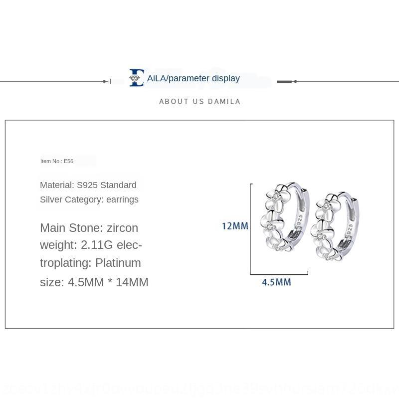 cW8A3 Damila S925 fleur en forme d'argent sterling Est Porte coréenne Accessoires Boucles d-oreilles diamant femmes de style prunier diamant zi