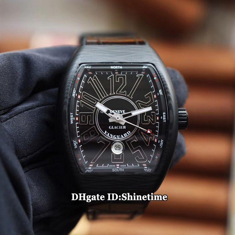 ABF Top Version VANGUARD V 45 SC DT 25th Anniversary Limited Edition Black Dial ETA2824 Automatic Mens Watch Carbon Fiber Case Leather Strap