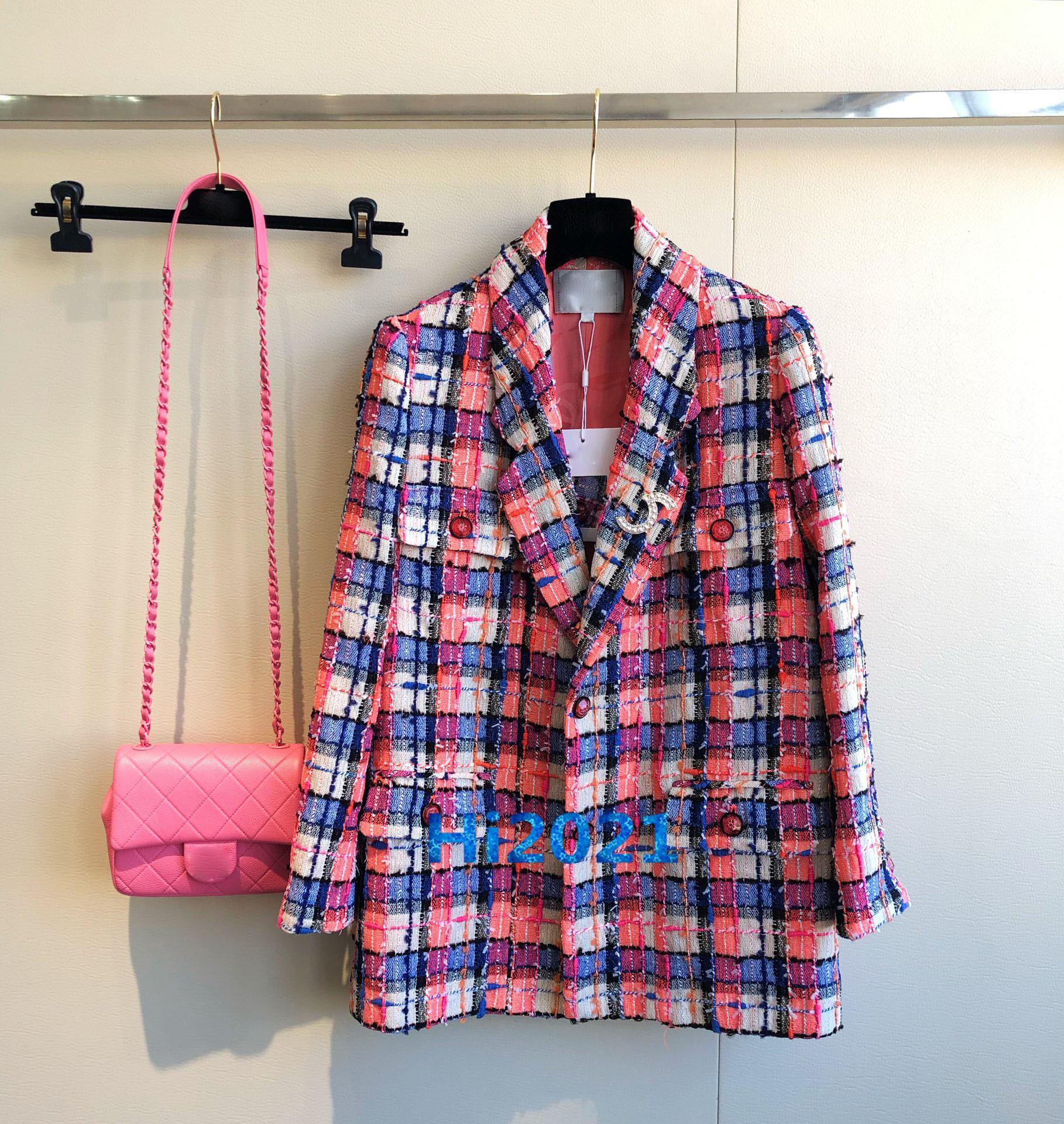 하이 엔드 만든 여성 상위 정장 코트 품질 덮여 컬러 체크 재킷 긴 소매 트렌치 착실히 보내다 패션 여성의 트위드 재킷 스위트 코트