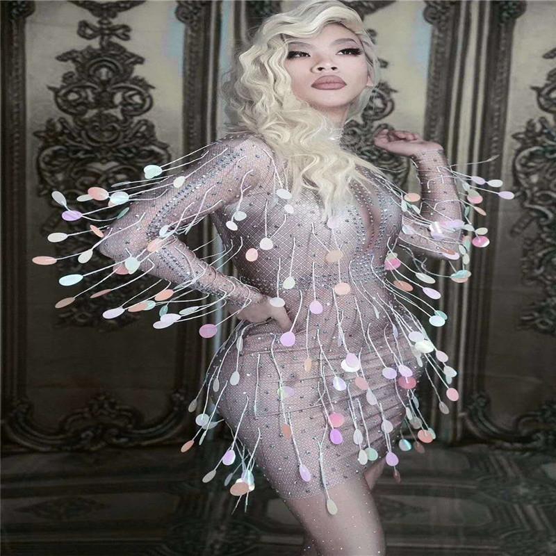 X15 Balo Salonu dans sahne kostümleri Sparkly Kristaller Sequins Sıska Kısa Elbise dj Tek Parça Dans Kıyafeti şarkıcı giy ...