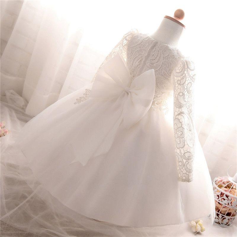 Abiti bambini Winter Dress per la ragazza manica lunga bianco battesimo di sfera per la festa nuziale Comunione vestiti della principessa Costume bambini T200107