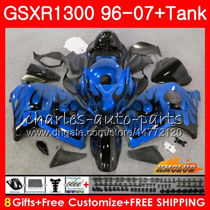 Kit Für SUZUKI GSXR-1300 GSXR1300 Hayabusa 96 97 98 99 00 01 Blaue Flammen 07 24HC.75 GSXR 1300 1996 1997 1998 1999 2000 2001 2007 Verkleidungen