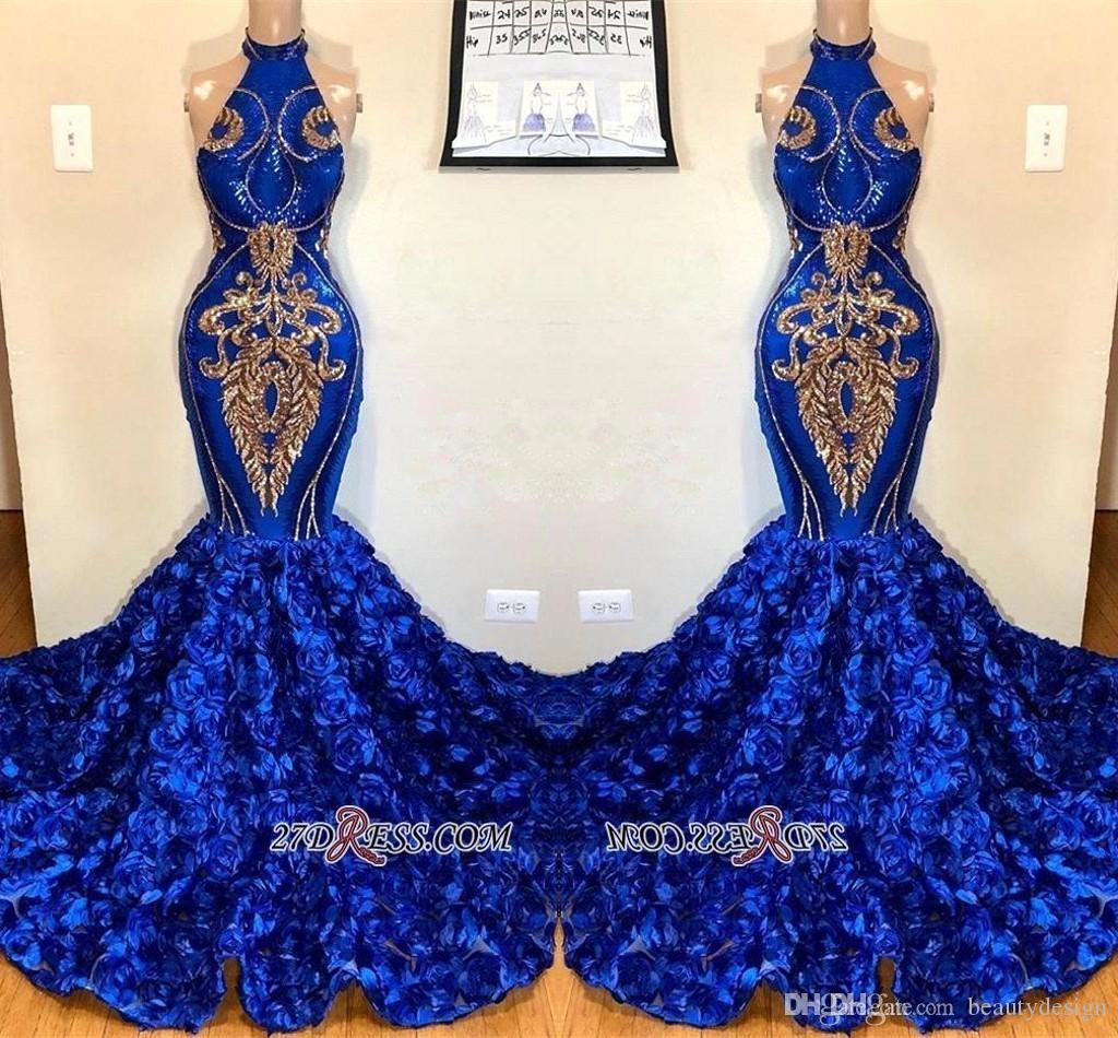 Foto reali Royal Blue Mermaid abiti da sera 2019 Halter collo fiori petalo con pizzo oro Appliqued paillettes Pageant Prom Party Gowns