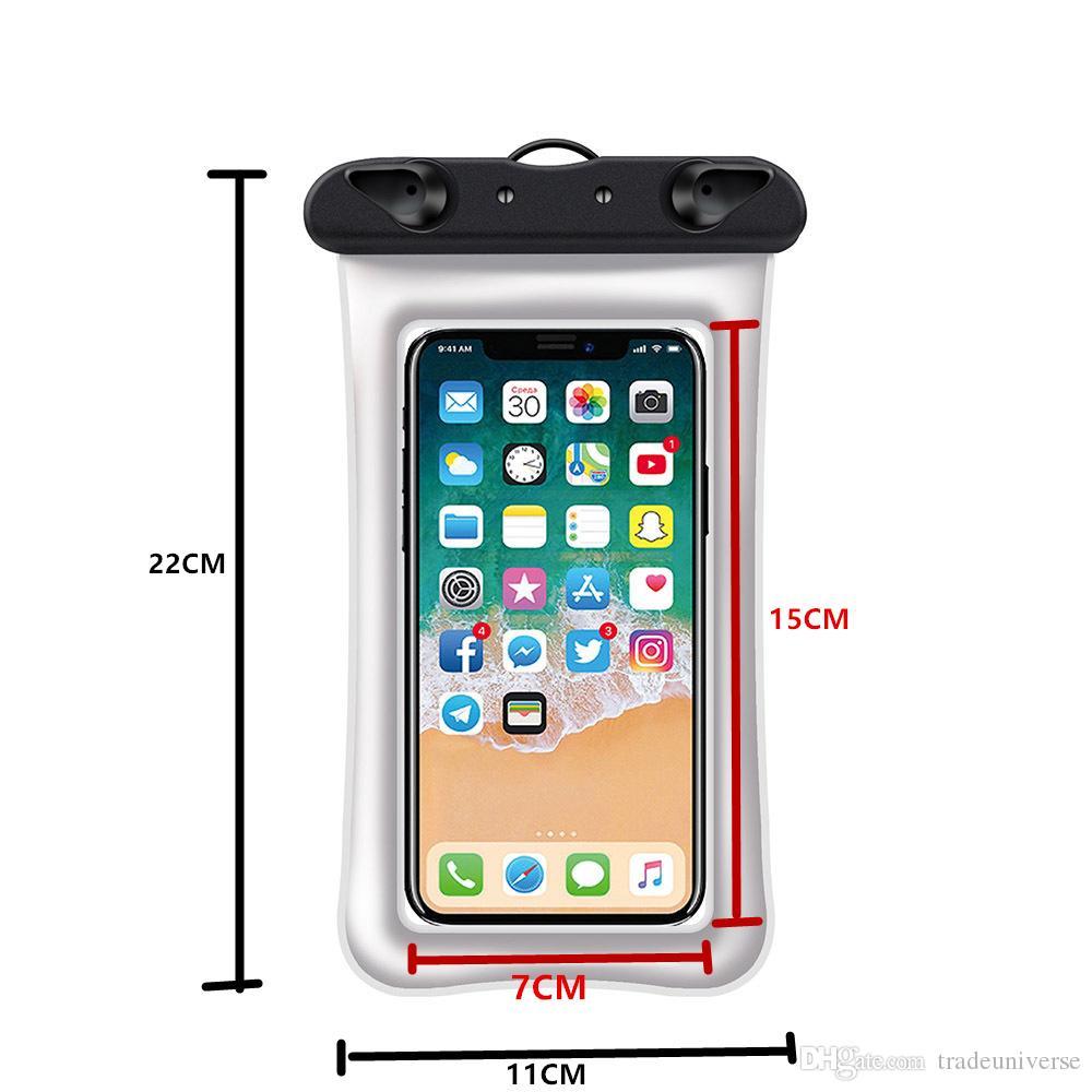 Sacos de natação impermeável Underwater Pouch Phone Case para iPhone Huawei Samsung Flutuante Waterproof Case Cell Phone Pouch Sob 6,0 polegadas