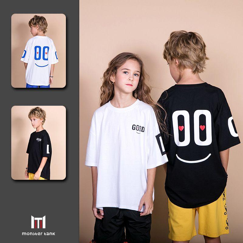 2019 novo O menino da menina T-shirt da moda verão hot-venda de produtos infantil desgaste de manga curta de algodão Puro design simples e elegante 3 cores
