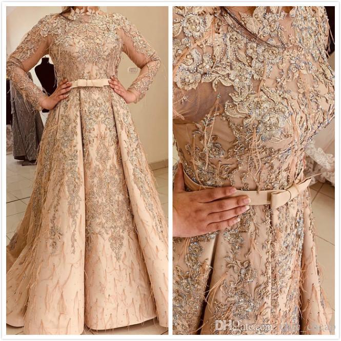 2020 Crystals Árabe Aso Ebi muçulmana de luxo Ouro Vestidos rendas frisado Prom Vestidos Pena formal do partido Segundo Recepção Vestidos ZJ34