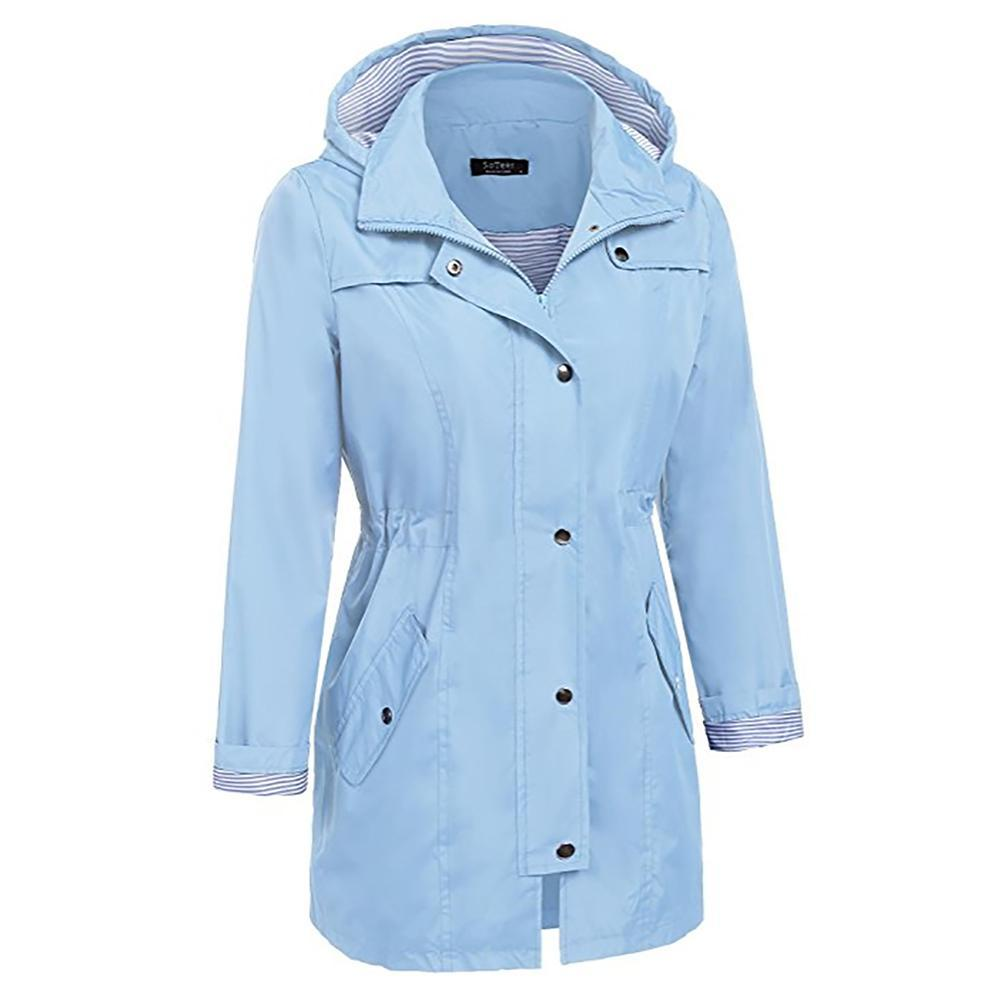 Female Long Style Hooded Waist Slimming Lightweight Lining Midi Waterproof Raincoat Jacket Outdoor For Women Thick Zipper Pocket