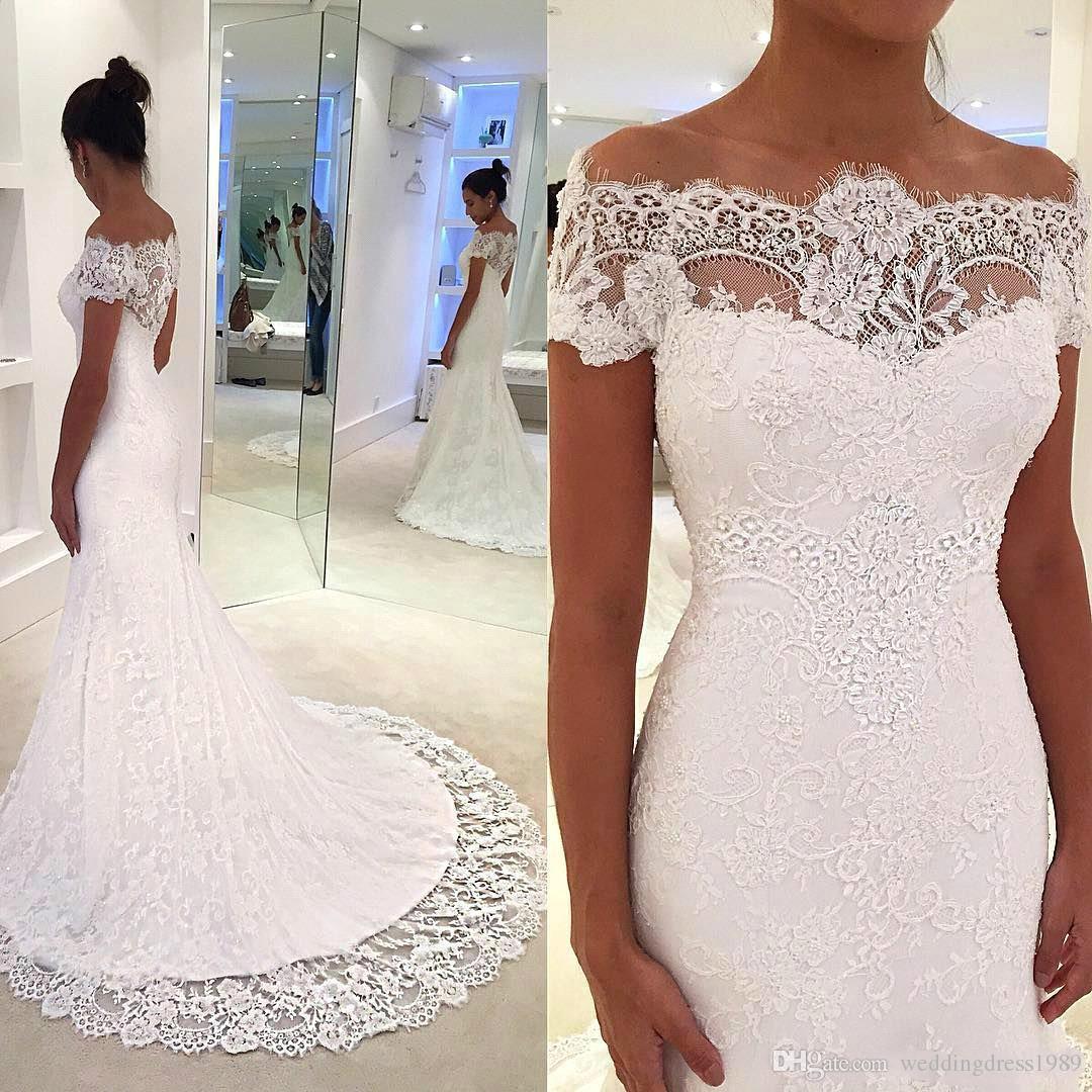 Encantador encaje sirena vestidos de novia más el tamaño de cuello barco vestido Vestido de novia País árabe Matrimonio vestido de novia de novia africana