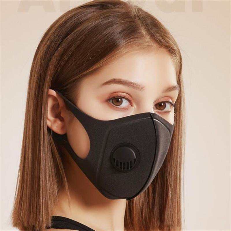 Reusable Breathing Valve Masks Anti-allergic and Dust Mask with Washable Unisex Sponge Dustproof PM2.5 Pollution Half Face Mouth Masks