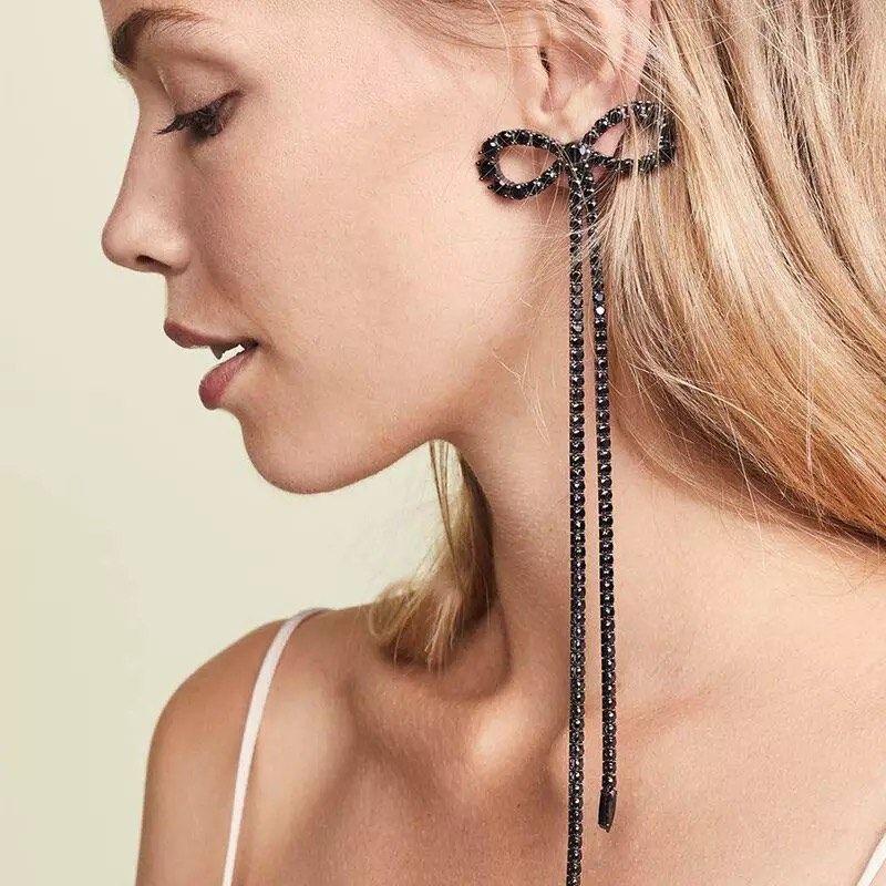 1 Pair Elegant Women Tassel Crystal Rhinestone Ear Stud Fashion Earrings Chain