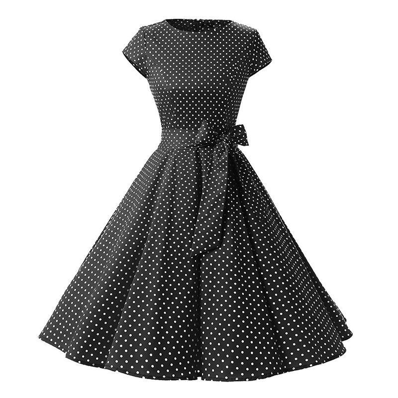 Женское ретро-платье с длинными рукавами и принтом в горошек