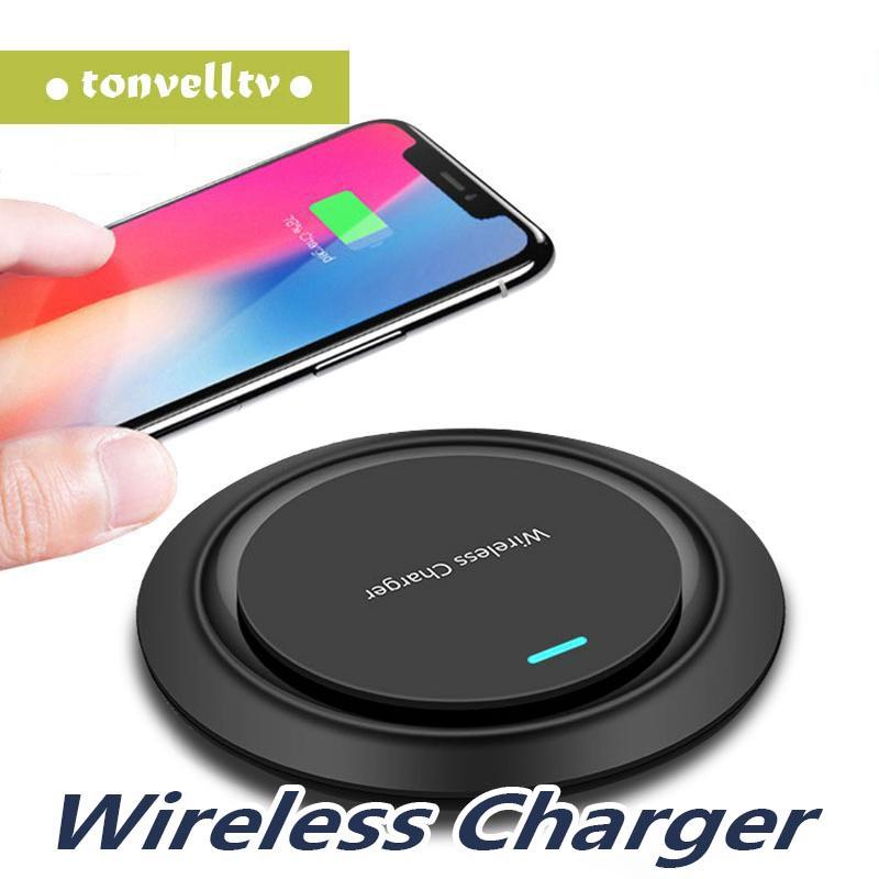 Nuovo round Qi caricatore senza fili per iP 11 8 / X senza fili di ricarica USB per Samsung S8 / S8 + / S9 S10 Smart Phone Mobile Charger