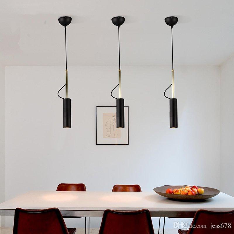 Danimarca Cilindro luci a sospensione moderna nero / bianco Spot Sospese Camera Ristorante Decor regolabile singolo capo Droplight