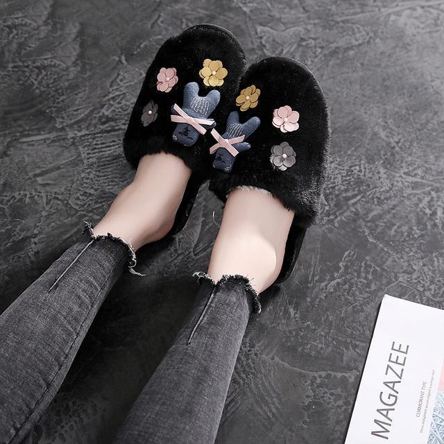 pelúcia chinelos mulas sapatos femininos chinelos de Inverno interior de moda mulher sapatos casa bonito chinelos mulheres senhoras planas mulheres sapatos