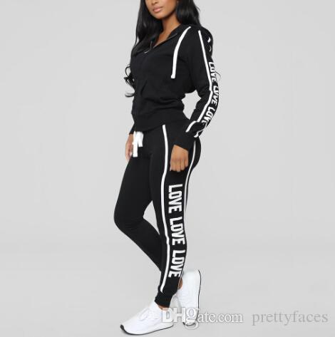 2 pcs Com Capuz Treino Casuais Ternos Para As Mulheres Definir Moletons Hoodies + Sweatpants 2 Peças Conjuntos das Mulheres Terno Feminino Sweatsuit