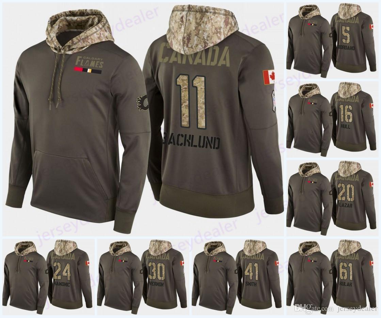 Mens costume Calgary Flames militares Camo capa da bandeira Hoodie Jerseys 11 Mikael Backlund 29 Dillon Dube Hockey hoodies camisolas