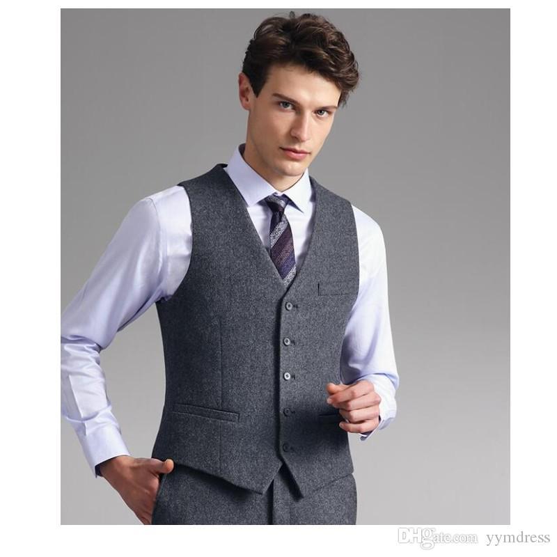 2019 New Grey Groom Gilets De Mariage Gilets En Laine Slim Fit Chevrons Tweed Hommes Gilets Sur Mesure Robe Manteau Pays De La Ferme