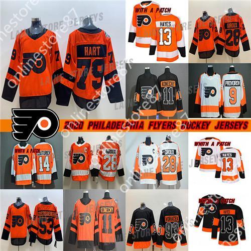 Philadelphia Flyers hockey 79 Carter Hart 28 Claude Giroux 53 Gostisbehere 93 Voráček 11 maglie hockey Konecny 19 Nolan Patrick Carter Hart