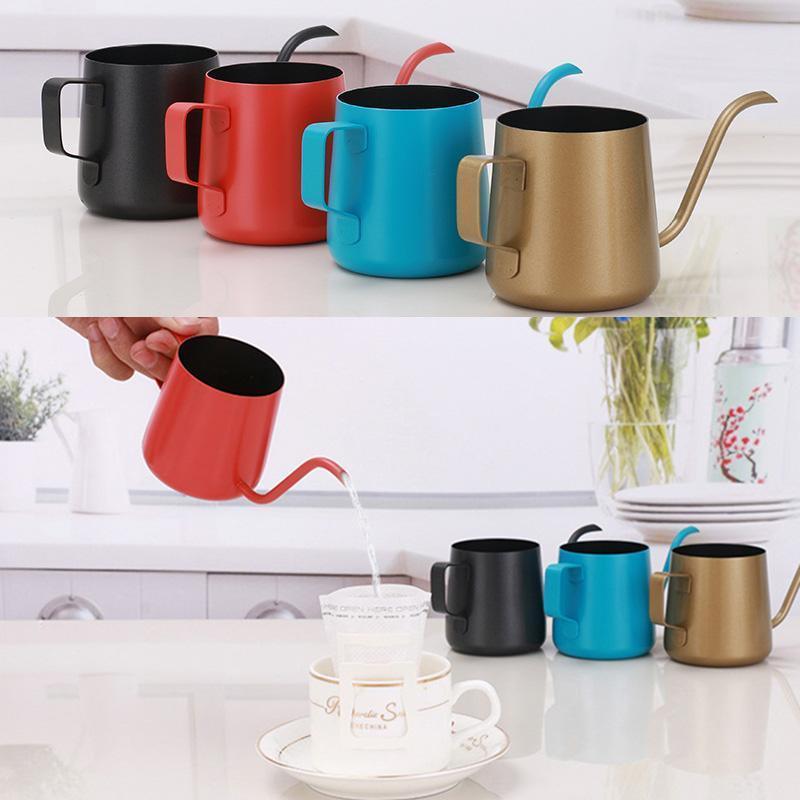 250ml 350ml Coffee Pot en acier inoxydable Gooseneck Verser sur machine à café Hanging Oreille goutte à goutte café longue Spout Tea Pot Outils Bouilloire DHB919