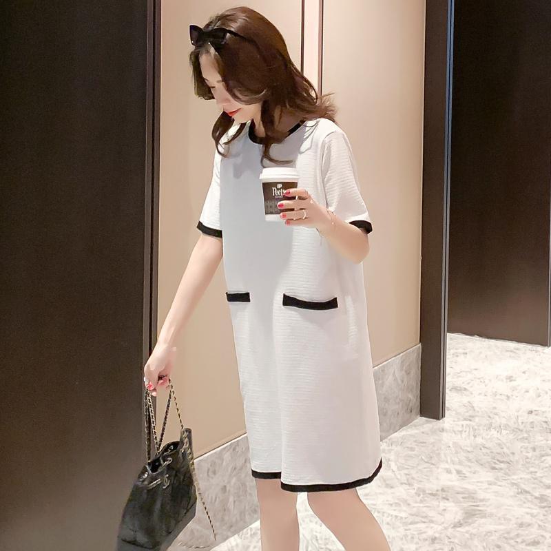 Verão solto Gestantes Vestido de malha de manga curta O-Neck Senhora do escritório roupa do bloco da cor Patchwork vestido de maternidade Hetero