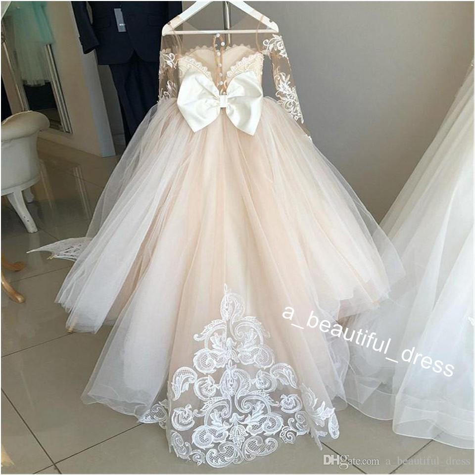 Latest Cute Jewel Flower Girl Birthday Dresses Ball Gown Sheer Neck Long Sleeve With Lace Applique Kids Girls Pageant Dresses FG1307