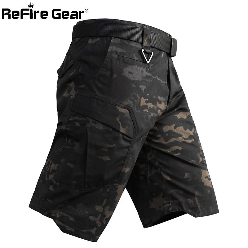 ReFire Gear Men's Camo Army Tactical Short Pants Military Combat Multi Pocket Cargo Shorts Soldier Summer Waterproof Work Shorts CX200624