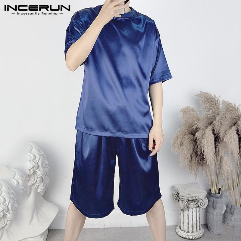 Yaz erkekler rahat setleri 2020 egzersiz kısa kollu O boyun tops şort erkekler suits katı renk gevşek Streetwear 2 parça setleri INCERUN