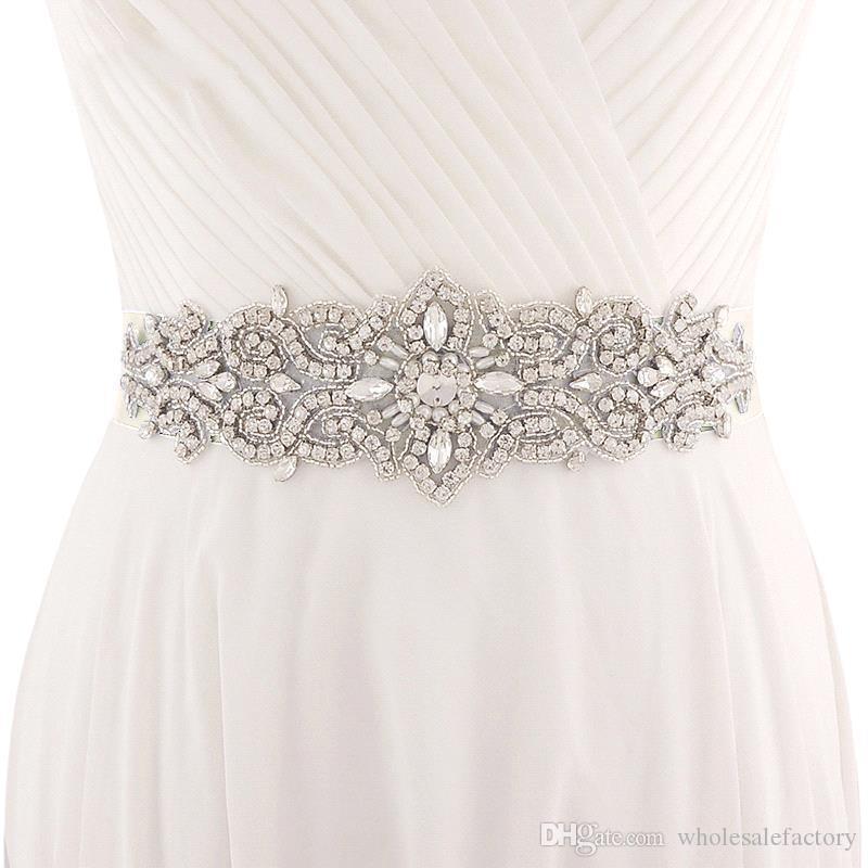 Handmade Biały Belt Kości Słoniowej Na Suknie Ślubne Zroszony Kryształ Ślub Koraliki Akcesoria Ślubne Rhinestone Sash Bridal Sash CPA1222