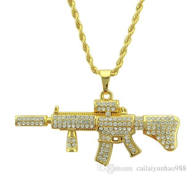 18 K Altın Kaplama Yeni kolye hip hop kolye mini kişilik AK47 makineli tabanca tam elmas kolye