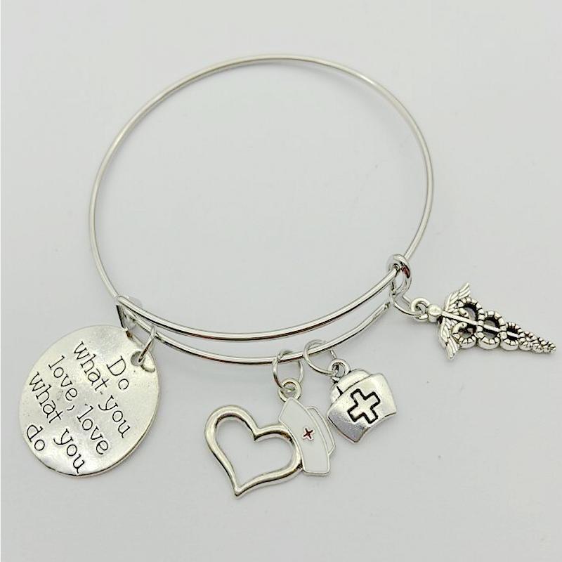 Haz lo que amas del alfabeto de la etiqueta del corazón en forma de sombrero de la serpiente de caña pulsera del encanto del brazalete creativo de rescate joyería mejores regalos