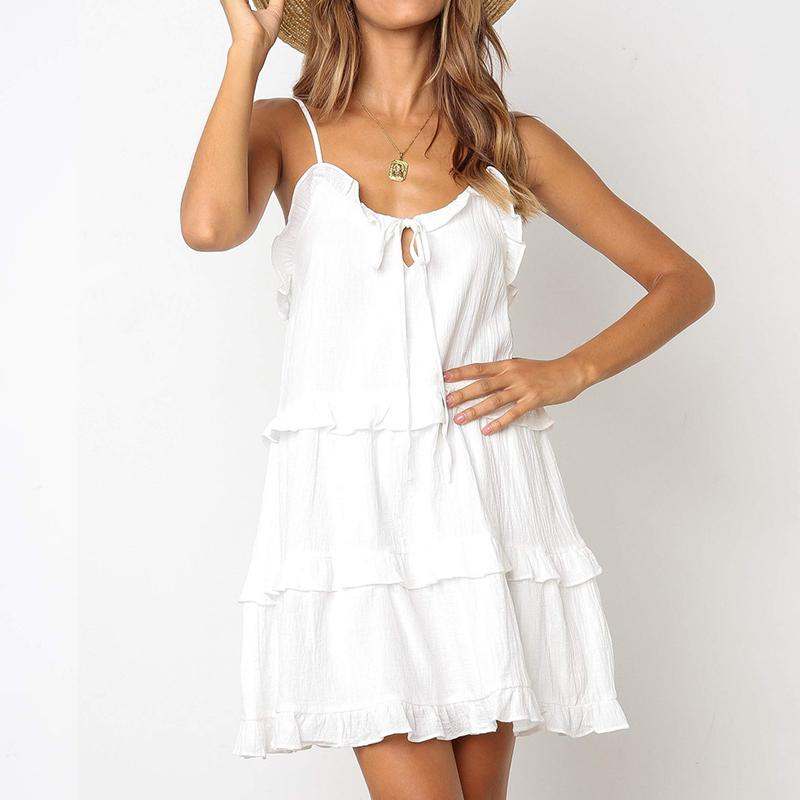 vestido vintage Verão 2019 mulheres de largura de banda Branco babados soltos sensuais Strap vestir túnica ocasional femme Praia para as mulheres