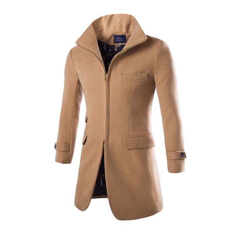 Erkekler Yün Ceket Palto Uzun Trençkot Casaco Masculino Moda Bezelye Coat Dış Giyim Yaka İngiltere Parti Palto XXL Wear Standı