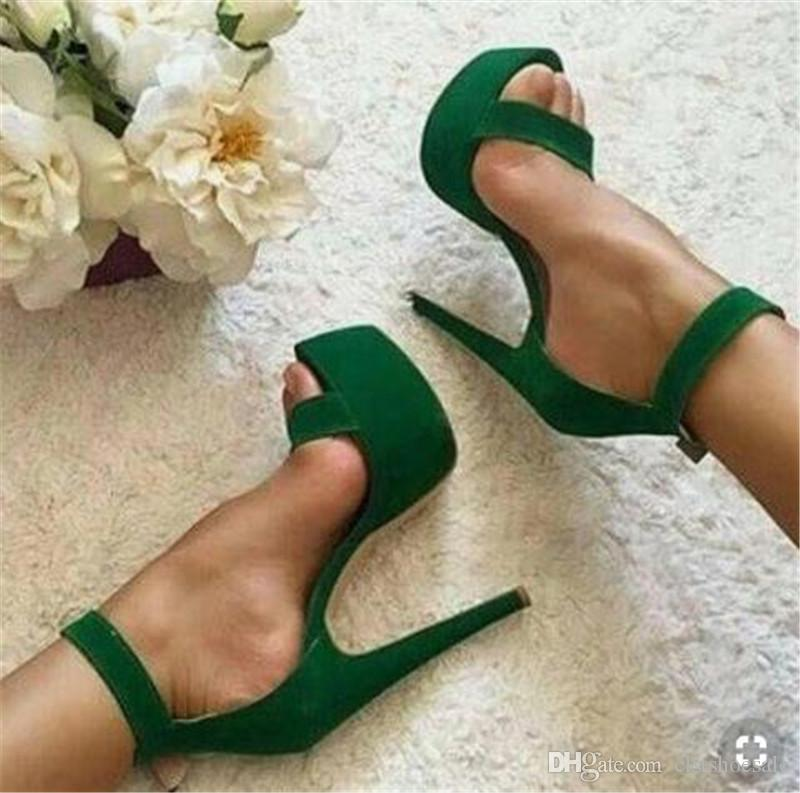 Women Elegant Fashion Open Toe One Strap High Platform Stiletto Heel Sandals Ankle Strap Super High Heels Formal Dress Shoes