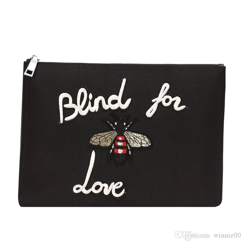 Cartoon bee pattern oxford material clutch bag/new design monster printing bag wholesale oxford clutch bag