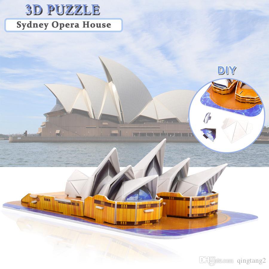 Carton Opéra de Sydney 3D Puzzles Jouets pour enfants Creative DIY Monde Célèbre Attractions Modèle Kits Cadeau Éducatif De Bureau Décor À La Maison