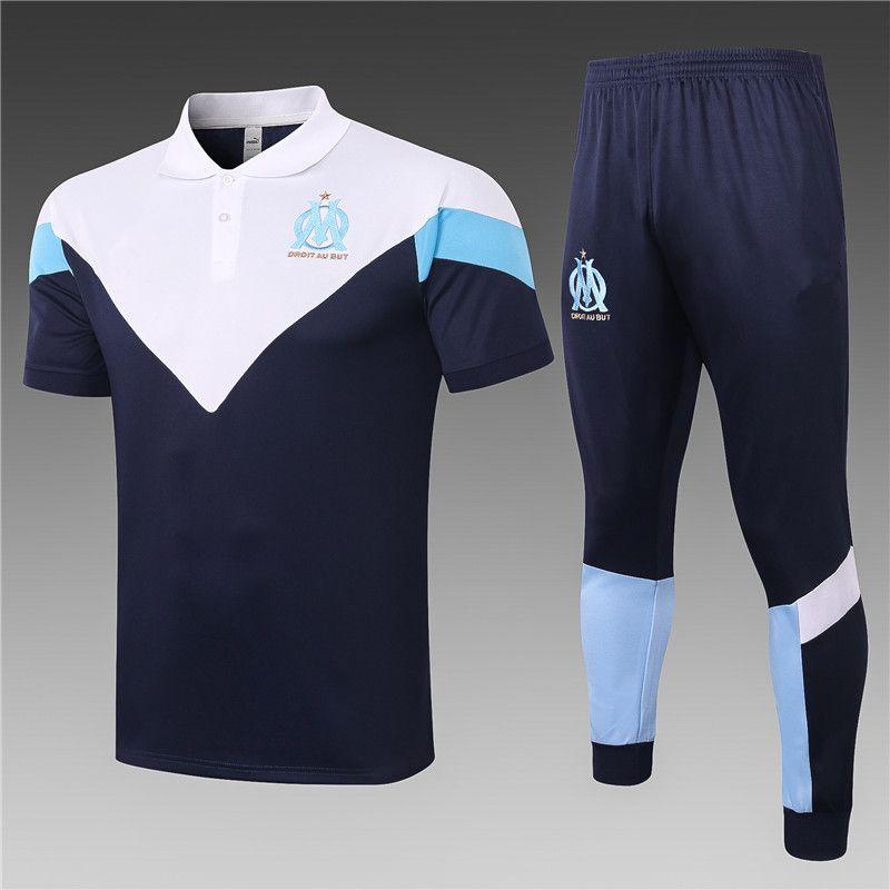 Le dernier 2020 2021 Club national club manches courtes d'été d'équipe de football Marseille Ensembles Survêtements 19-20 kit jersey de football S-XXL Survêtements