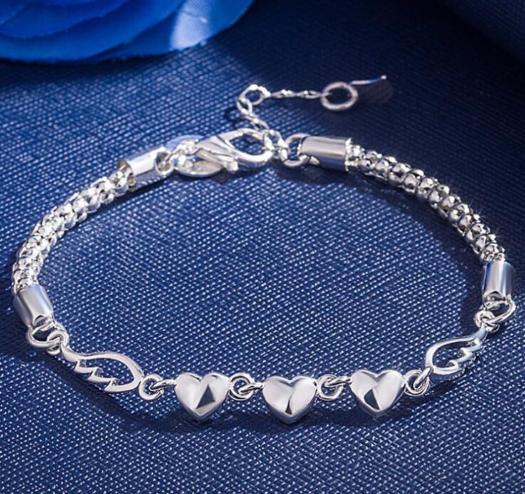 925 bracelets de marque plaqué bracelet chaîne à maillons coeur de la mode pour les femmes cadeau bijoux en gros Livraison gratuite