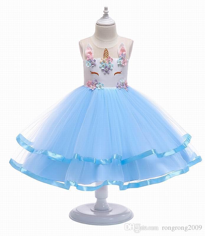 Compre 2019 Primavera Nueva Chica Vestido Apliques Flor De Perla Unicornio Con Gradas Gasa Navidad Sin Mangas Princesa Vestido 3 10 Años E0042 A