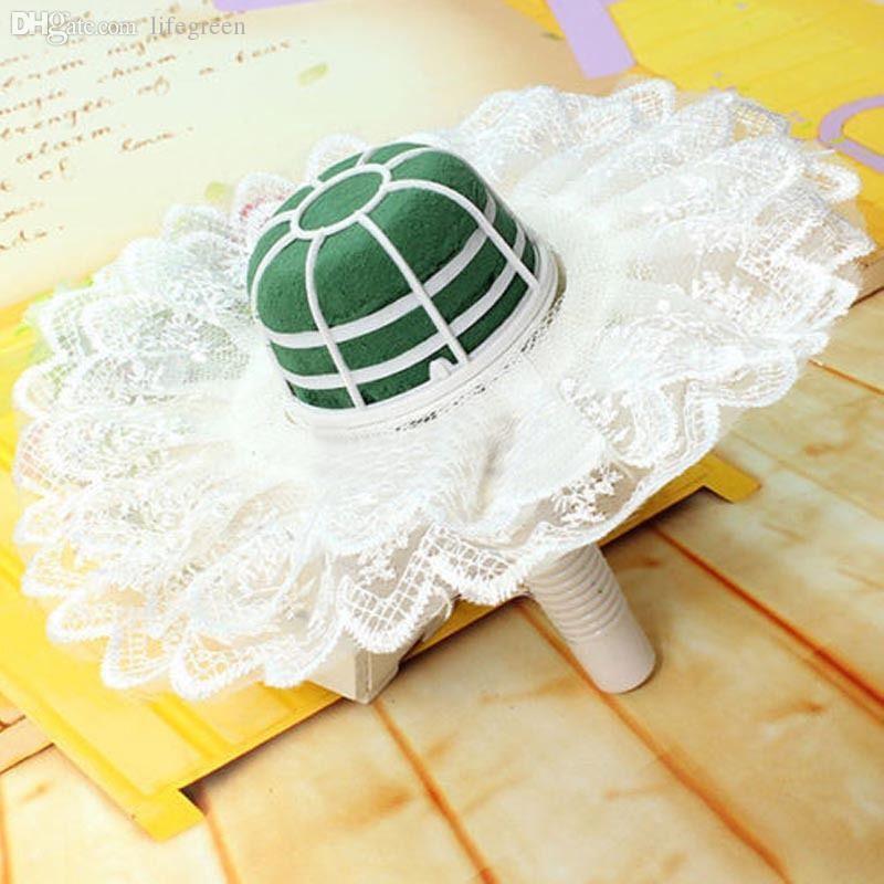 Wholesale-Vogue Flower Floral Bouquet Foam Handle Holder With Lace Collar Wedding Decor Home DIY #70970