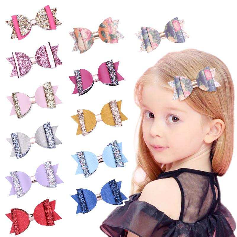 2019 New glitzern hairbows Haarclips Doppelstock beugt Mädchen-Haar-Clips große Bögen Mädchen Hairclips Kinder Barrettes Mädchenhaarzusätze A4068