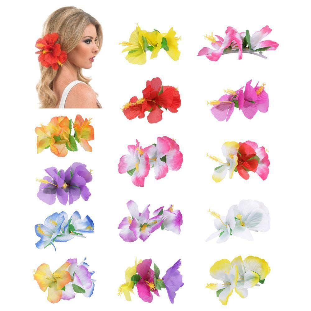 14pcs / lot clips de la sede artificial del pelo de la flor del hibisco Barrettes Partido Hula hawaiano de la decoración de la boda accesorios nupciales del pelo