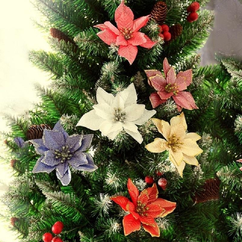 10PCS 크리스마스 트리 장식 화환 선물 파티 장식 홈 반짝이 포 인 세 티아 인공 꽃 축제 테이블 가짜 결혼식