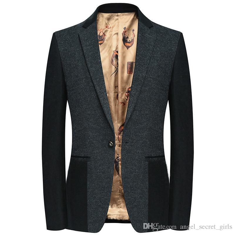 Terno Blazers dos homens atuais ternos novos populares dos homens de lã magro de negócios ocasional Blazers O revestimento dos homens cavalheiro