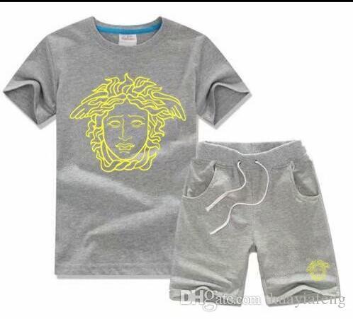 2019 Brand Fashion Photos Brand Kids Sets Children T-shirt 및 Shorts Pants Kids 운동복 어린이 Sport 한 벌 2 Pcs Short Sleeve ovbe