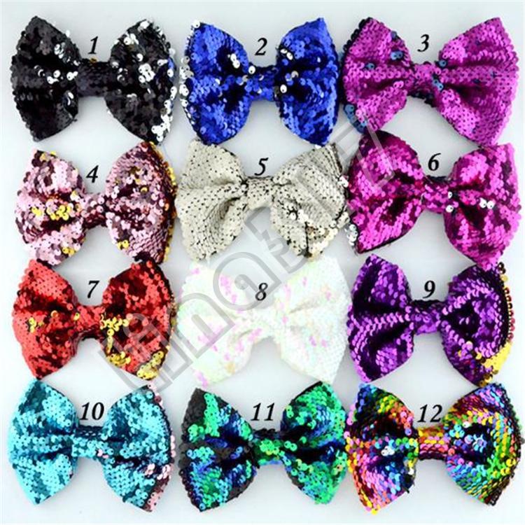 New alta moda de qualidade de duas cores reversíveis contas lantejoulas escalas bonitos e bonitas bowknot peixe Bow Tie Acessórios de cabelo T7C5022