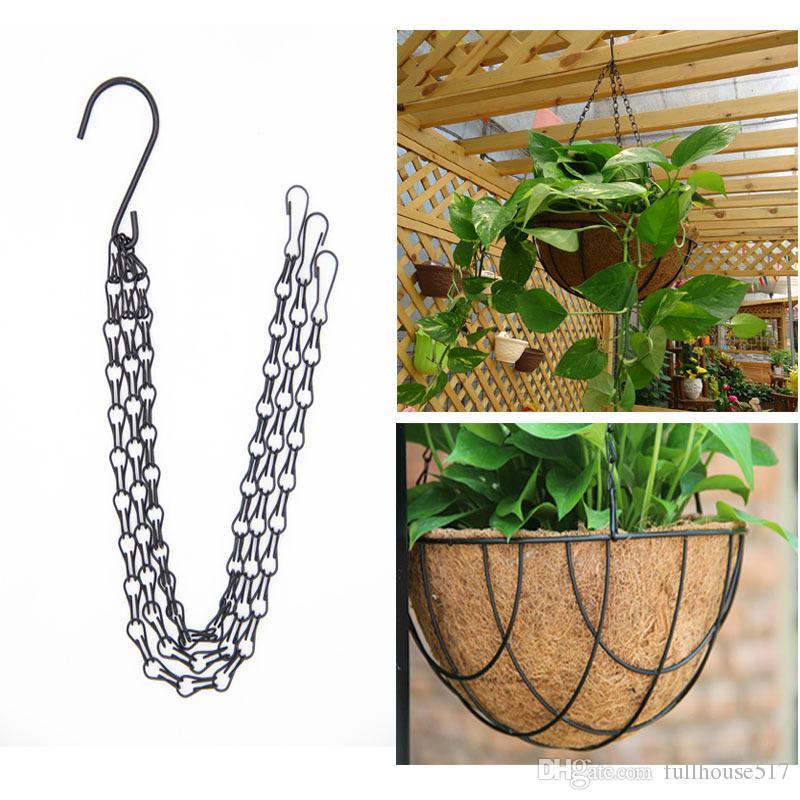3 puntos de la planta de jardín maceta cesta cesta colgante con ganchos jardín planta colgante colgar cadenas maceta